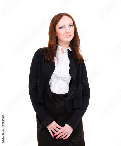 smiling businesswoman isolated on white background