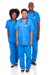 group of black health workers isolated on white background