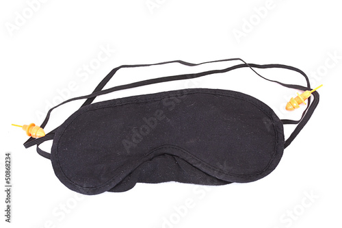 Black blindfold isolated on white
