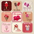 Set of vintage ice cream shop badges and labels