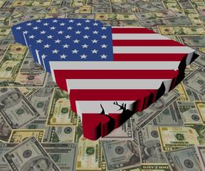 South Carolina Map flag on American dollars illustration