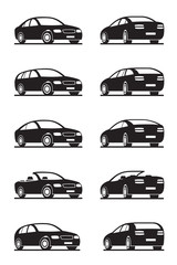 Popular cars in perspective - vector illustrator