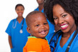 Young African Nurse Carrying B...