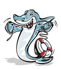 Vector/ character: Hai nutzt praktische Zahnseide