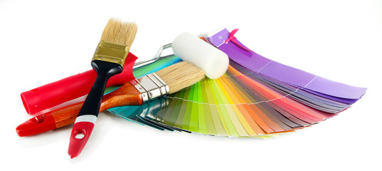 Brushes, paint-roller, colour guide isolated on white
