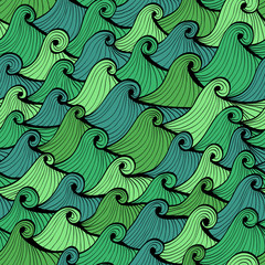 Seamless blue and green hand drawn background with waves. Eps10