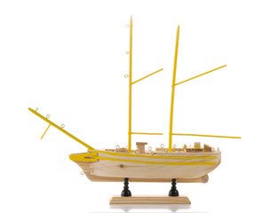 Model of ship on white