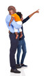 afro american young family pointing