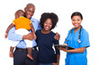 african female healthcare worker with young family
