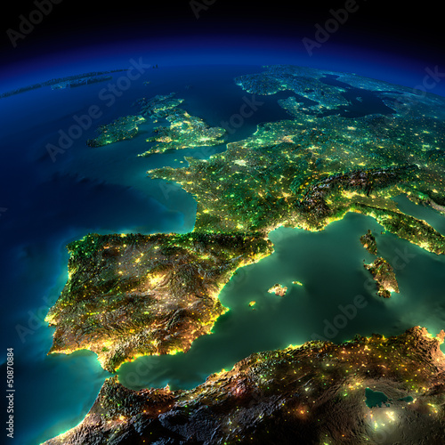 Poster Night Earth. A piece of Europe - Spain, Portugal, France