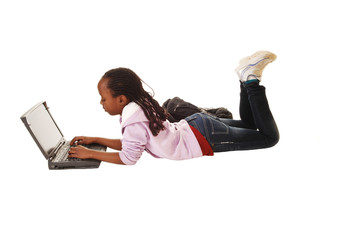 Teen girl with laptop.