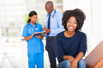 young african woman waiting for medical examination