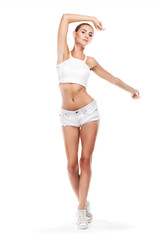 Sport woman in perfect shape . Concept - healthy lifestyles