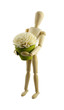 wooden puppet holding flower with clipping path