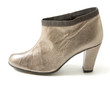 Silver leather high heeled bootie