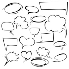 frames and bubbles collection vector hand drawn