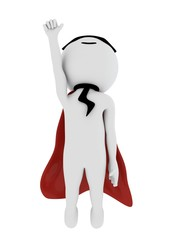 3d super stylish hero with red cape and wearing mask