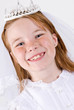 Close-up of young girl in First Communion Attire