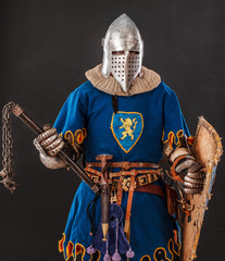Brave knight in blue with a lion in his form is ready to fight