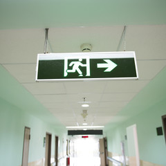exit sign suspended