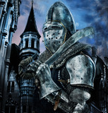 Knight with sword near to a castle
