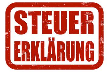 Grunge Stempel rot STEUERERKLÄRUNG