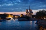Notre Dame de Paris sunset dusk night view. France.