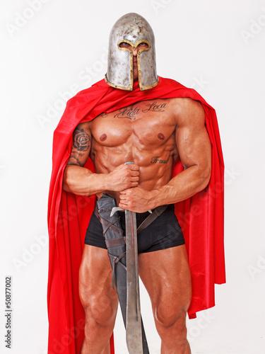 Standing in position topless warrior