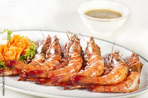 grilled shrimp, orange prawns roasted grill dish