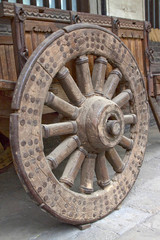 wooden wheels in a historical museum, China
