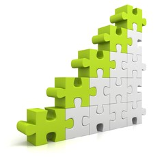 green puzzle success business bar chart diagram