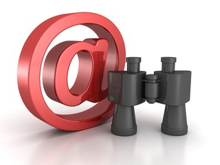 Binoculars with red at e-mail symbol. internet search concept