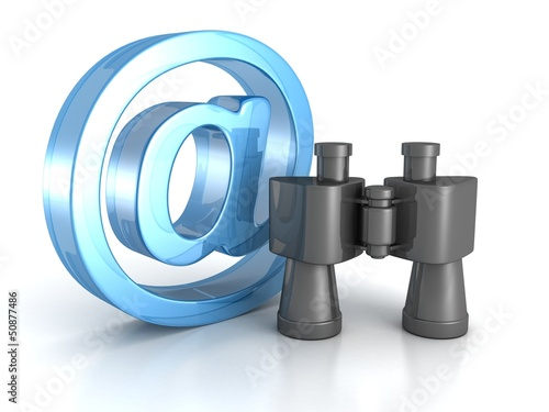 Binoculars with blue at e-mail symbol. internet search concept