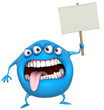 3d cartoon monster holding placard