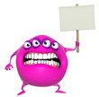 3d cartoon pink monster holding placard