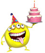 3d cartoon yellow birthday monster with cake