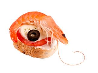 Shrimp sandwich isolated