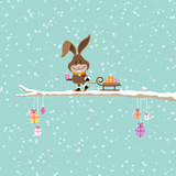 Bunny Skiing Pulling Sleigh Easter Eggs Tree Snow