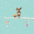 Bunny Pushing Wheelbarrow Easter Eggs Tree Snow