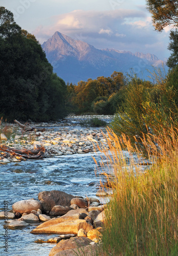 Slovakia mountain stream Bela with Tatra peak Krivan in backgrou