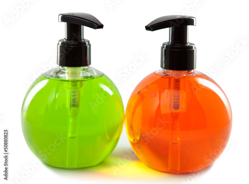 bright color cosmetic small bottles with the dispenser