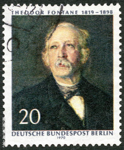 GERMANY-1970: shows Theodor Fontane (1819-1898), poet and writer