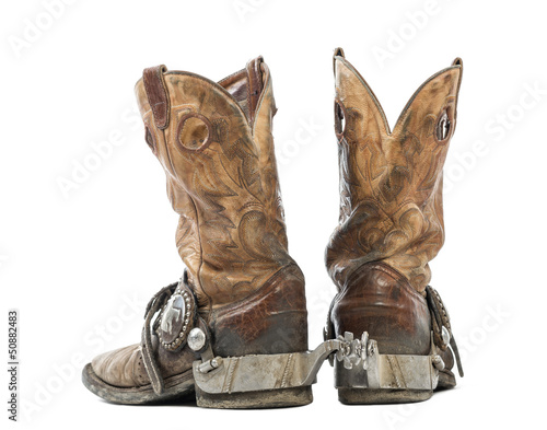 Rear view of a Pair of cowboy boots, isolated on white