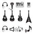 Set of vector black music icons on white