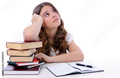 Teenage girl is thinking under learning time