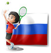 A boy playing tennis in front of the Russian Federation flag