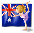 A young girl dancing in front of the Australian flag