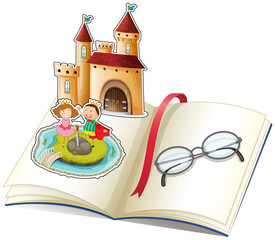 A book with a castle and a reading glasses