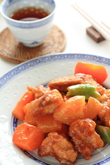 chinese cuisine, sweet & sour pork with pinapple