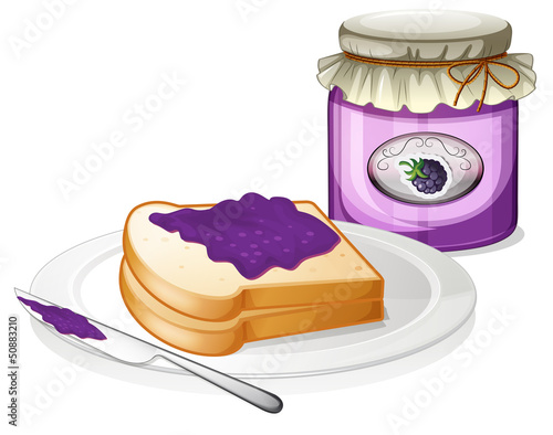A slice bread and a bottle of grape jam